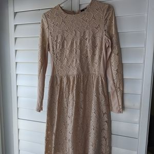 Blush Long Sleeve Lace Midi Prom Special Occasion